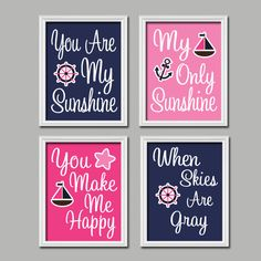 Navy Blue Pink Sailboat Ocean Girl - You Are My Sunshine 8x10 Set of 4 Wall Art Decor Prints Poster Nursery Child Kid Room Typography. $38.00, via Etsy.