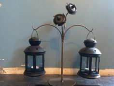 Metal flower lanterns
