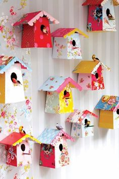 Colorful Fun DIY Spring Projects Collection #bird #houses