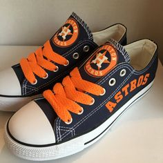 e363bfd5a15 Stand out from the crowd with Houston Astros team spirit in these adorable Converse  style sneakers that have handmade Houston Astros designs.