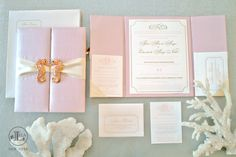 Sea Horse Wedding Invitations | Beach Wedding Invitations | Blush Wedding Invitations