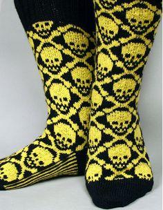 Ravelry: Hot Crossbones Socks pattern by Camille Chang Crochet Quilt, Knit Or Crochet, Knitting Supplies, Knitting Projects, Knitting Socks, Hand Knitting, Knitting Patterns, Crochet Patterns, Knitting Ideas