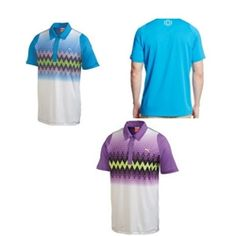 Puma Men's Golf DS Graphic Stripe Polo Style Number: 565496 Colors: Deep Lavender or Blue Aster MSRP $75.00! Product Features: CoolCELL mesh back panel with moisture-wicking properties and anatomically placed airflow features for superior temperature regulation Duo-Swing technology: engineered sleeves reduce friction and keep you focused on your form UPF 40  UV Protection to shield you from the sun's harmful rays Three button placket Open sleeves Puma Cat logo at left sleeve Embroidered…