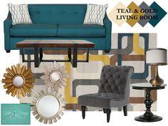 Charmant Teal Gold U0026 Gray Living Room, Ethan Allen, AFW, Target. Benjamin Moore