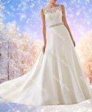 A Line Lace Bridal Gown Satin Wedding Dresses Custom Size 4 6 8 10 12 14 16 18+