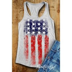 Flag Tank Tops Flag Shirts American Flag 4th of July Summer Tank Tops... ($22) ❤ liked on Polyvore featuring tops, grey, tanks, women's clothing, gray tank, summer shirts, usa flag shirt, american flag singlet and checked shirt