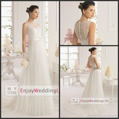Elegant A Line Tulle Wedding Dresses 2015 Sheer Sleeveless Lace Top Court Train Bridal Gowns With Floral Sash 8C107, $134.87 | DHgate.com