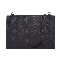 Black Metallic Faux Snake Skin Clutch Le Chic Llc Women - Bags Clutches & Evening
