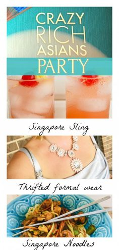 Crazy Rich Asians Party by The Spirited Thrifter with thrifted formal wear, Singapore Noodles recipe and Singapore Sling recipe Asian Party Themes, Sweet 16 Party Themes, Party Ideas, Meat Cooking Times, Cooking Bacon, Singapore Sling Cocktail, How To Cook Broccoli, Cooking Broccoli, Singapore Noodles Recipe
