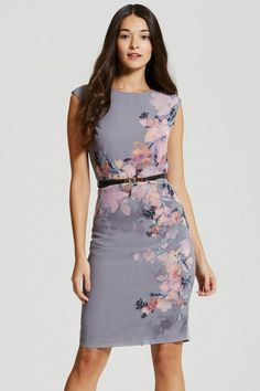 Little Mistress Grey Floral Print Chiffon Bodycon Dress - Little Mistress from Little Mistress UK