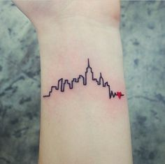 skyline heartbeat tattoo