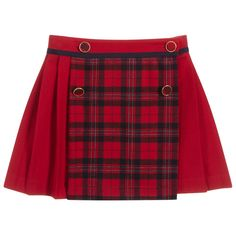 Pleated red skirt by Patachou, with a red and navy blue tartan panel on the front. It is made in a super soft, brushed viscose blend and fastens with tartan buttons with gold trims. The useful adjustable waistband has a pretty navy blue grosgrain trim. Red Tartan Skirt, Plaid, Red Skirts, Cheer Skirts, Skirts For Kids, Grosgrain, Diy Clothes, Kids Fashion, Fall Fashion