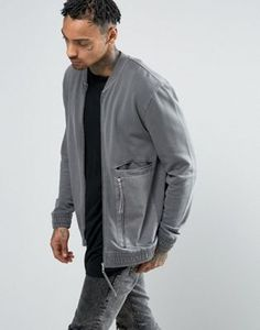 ASOS Jersey Bomber Jacket With Woven Panels & Zips