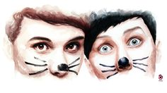 Hey guys! It's time! ~ AmazingPhil ~ danisnotonfire - watercolour painting by szluu.tumblr.com