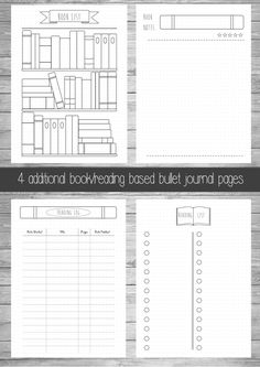 Extra Bullet Journal Pages  Book  Reading A5  A4  US