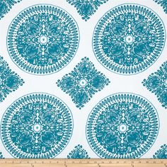 Ty Pennington Home Decor Sateen Fall 11 Medallion Teal from @fabricdotcom  Screen printed on cotton sateen; this medium weight fabric designed by Ty Pennington is very versatile. This fabric is perfect for dresses, skirts, window treatments (draperies, valances, curtains, and swags), bed skirts, duvet covers, pillow shams, accent pillows, tote bags, aprons, slipcovers and upholstery. Colors include teal green, turquoise and white.