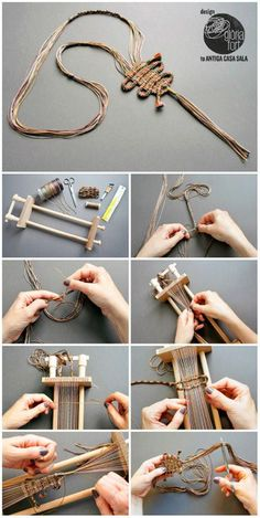 "DIY Woven Necklace Make this unique DIY Woven Braided Cord Necklace with a handmade or store bought loom. I really like Gloria Fort's DIY jewelry, and most of her pieces are ""boutique worthy"". You can"
