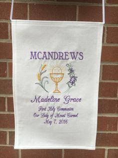 A personal favorite from my Etsy shop https://www.etsy.com/listing/269207277/first-holy-communion-banner-12x18-custom
