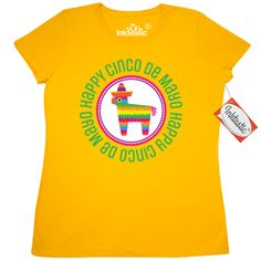 Cinco De Mayo Women's T-Shirt colorful pinata wearing a sombrero for celebrating on May 5 at a fiesta party. $17.99 www.homewiseshopperkids.com
