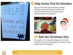 #PTAsocial #xmasfairideas - Find Santa's reindeer, Christmas dice. See https://www.ptasocial.com/christmas-fair-ideas/