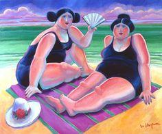 """Saatchi Art Artist Lee Chapman; Painting, """"Bañistas con Sombrero"""" #art"""
