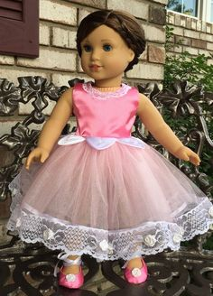 "Pink ballet dress and slippers for American girl or 18"" doll"