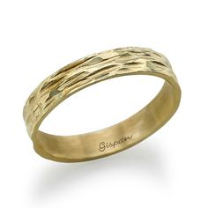 Engagement Band Yellow Gold wedding ring Gold by Gispandesigns