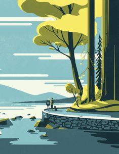 We're so excited to reveal Tom Haugomat's amazing new work for Graphic Design Illustration, Graphic Art, Illustration Art, Illustrations Vintage, Posca Art, Grafik Design, Animes Wallpapers, Graphic Design Inspiration, Landscape Art