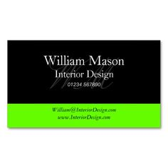 Black and Lime Green Professional Business Card. This great business card design is available for customization. All text style, colors, sizes can be modified to fit your needs. Just click the image to learn more!