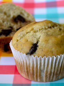 Banana Chocolate Chip Muffins |   | 1 1/2 cups all purpose flour  | 1 teaspoon baking powder  | 1/2 teaspoon baking soda  | 1/2 teaspoon salt  | 1/4 cup honey or agave nectar  | 1 large egg  | 2/3 cup milk  | 3 tablespoons vegetable or canola oil  | 2 ripe bananas, mashed  | 3/4 cups semi-sweet chocolate chips