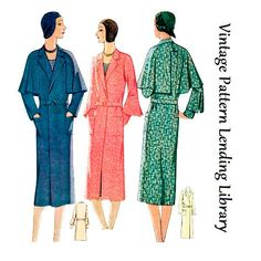 1930 Ladies Coat With Optional Cape - Reproduction Sewing Pattern - 34 Inch Bust Mccalls Patterns, Vintage Sewing Patterns, Full Size Sheets, Minimal Outfit, Crepe Fabric, Beautiful Patterns, Coats For Women, Fashion News, Vintage Fashion