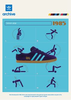 adidas Original Trimm Star poster from 1985 Adidas Vintage, Adidas Og, Adidas Sneakers, Adidas Originals, The Originals, Adidas Fashion, Sneakers Fashion, Fashion Outfits, Shoe Poster