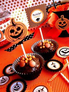 Halloween Cupcakes Jack O' lantern by Bird's Party  #halloween #partyideas #crafts #DIY #printables #cupcakes #jackolantern