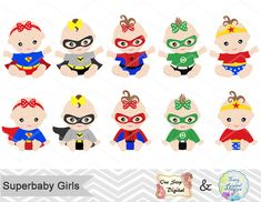 Digital Superhero Baby Girls Clipart Superhero Baby Clip Art