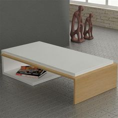 Bend Coffee Table, White/Oak