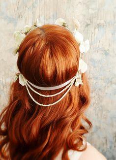 Ivory bridal head piece, vintage floral pearl crown, whimsical flower head wreath, wedding hair accessories. $70.00, via Etsy.