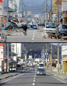This combination of pictures shows the view of a tsunami hit street in Ofunato, Iwate prefecture on March 14, 2011 (top) and the same scene as it appears on January 15, 2012 (bottom).