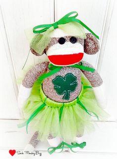 Ballerina Sock Monkey Doll, Luck of the Irish St. Patrick's Day Doll.