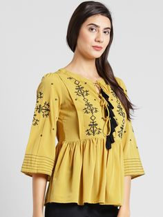 6401734e8d1a41 Buy PlusS Women Mustard Brown Embroidered A Line Top - - Apparel for Women
