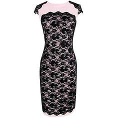 Ronda de la Mujer MingFan cuello de encaje bordado Costura Bodycon Lápiz Midi Vestido – USD $ 16.99