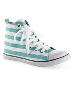 Retro memories! Makes me miss my green hi top chucks- these are a fun and fresh new option! Striped Canvas Hightop Sneaker