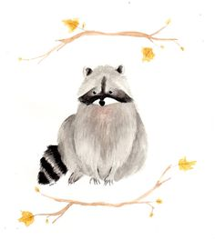 September Raccoon Art Print by Mari Makes | Society6