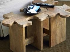 jigsaw puzzle end tables, or get a few to piece together to make a really cool coffee table
