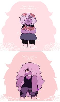 """Amethyst is awesome, Jasper needs to shut her FACE! Also I enjoy the reoccurring theme that basically says """"you are not what society tries to make you, you're allowed to be you and that means you are wonderful."""""""