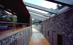 Base Valley House, Japan. Architect Hiroshi Sambuichi Gabion walls...cool!