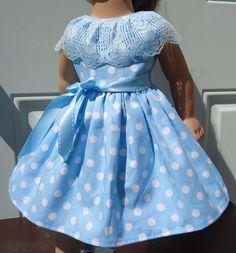"Doll Clothes-Handmade-American Girl Dolls-Fits 18""-Polka Dots & Blue Lace Dress. #Handmade"