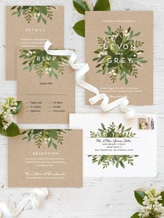 Modern white typography paired with fresh green florals create the perfect garden wedding. Minted artist Jennifer Wick's Laurels of Green wedding invitation is available now on Minted.com