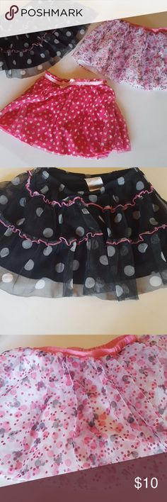 Disney Tulle skirts Disney Black and white pockadot with ruffles and shorts pink and black with Micky mouse ears no shorts hot pink with hearts  with shorts Disney Bottoms Skirts