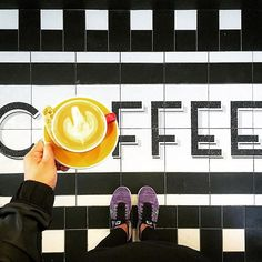 If you've seen my feed then you know I love it when coffee and floor game are on point! by trinnadeleon Unique Flooring, Coffee Crafts, Friday Feeling, Picture Tag, Michel, Coffee Shop, Tiles, Beautiful Pictures, Make It Yourself