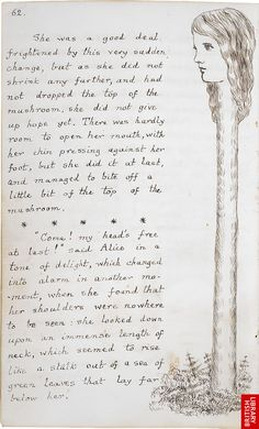 Lewis Carroll's Alice's Adventures Under Ground Original manuscript. The whole book here: http://www.bl.uk/onlinegallery/ttp/alice/accessible/introduction.html